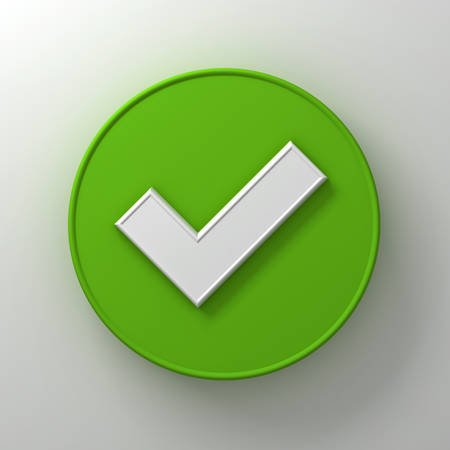White check mark or tick abstract on green round signboard over white wall background with shadow 3D rendering