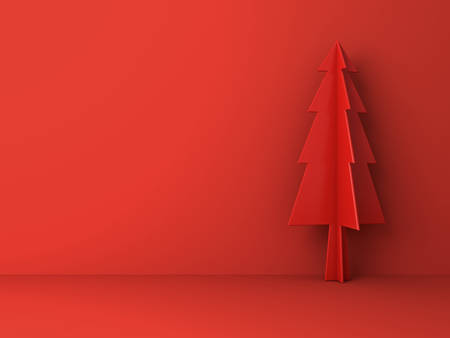 Red christmas tree on red background for christmas decoration with shadow 3D rendering