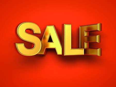 3d gold sale word over red background with shadow and reflection 3D rendering