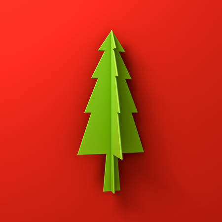 happy new year text: Green christmas tree on red background for christmas decoration with shadow 3D rendering