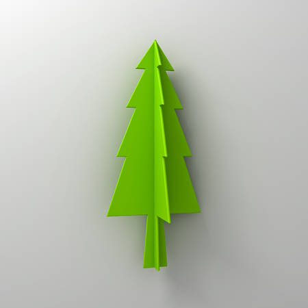 Green christmas tree on white background for christmas decoration with shadow 3D rendering Stock Photo