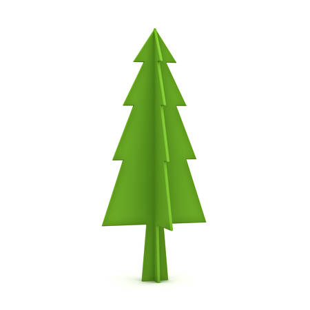 Green christmas tree isolated on white background for christmas decoration 3D rendering Stock Photo