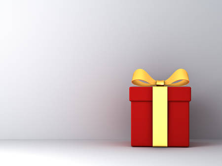 Gift box with gold ribbon bow and empty white wall background abstract 3D rendering