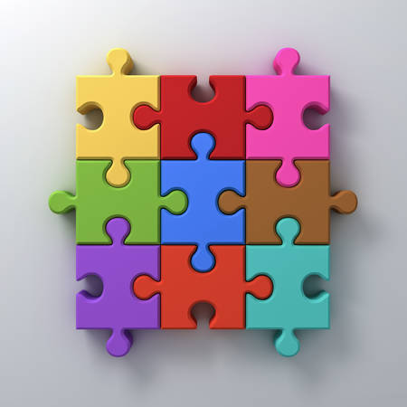 Colorful jigsaw puzzle pieces concept on white wall background with shadow 3D rendering Stock Photo
