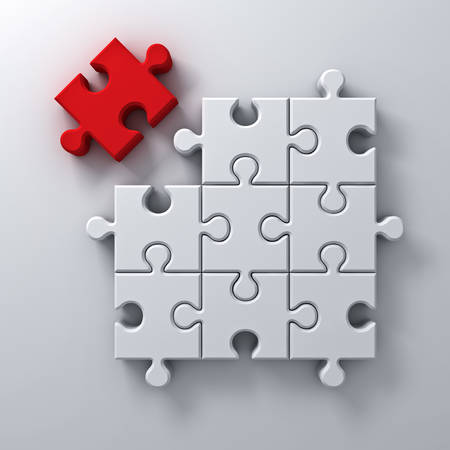 leadership key: One red jigsaw puzzle the last piece stand out from the crowd different concept on white wall background with shadow 3D rendering Stock Photo