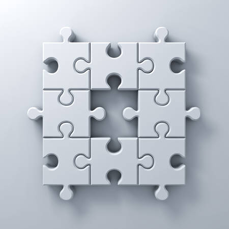 leadership key: White jigsaw puzzle pieces one missing concept on white wall background with shadow 3D rendering