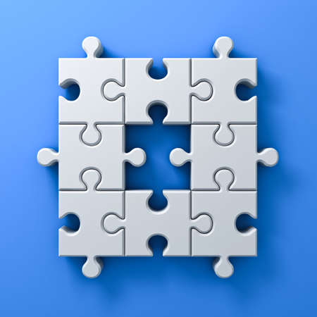 leadership key: White jigsaw puzzle pieces one missing concept on blue wall background with shadow 3D rendering Stock Photo