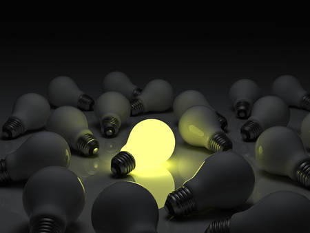 standing out: One glowing light bulb standing out from the unlit incandescent bulbs with reflection , individuality and different concept 3D rendering Stock Photo