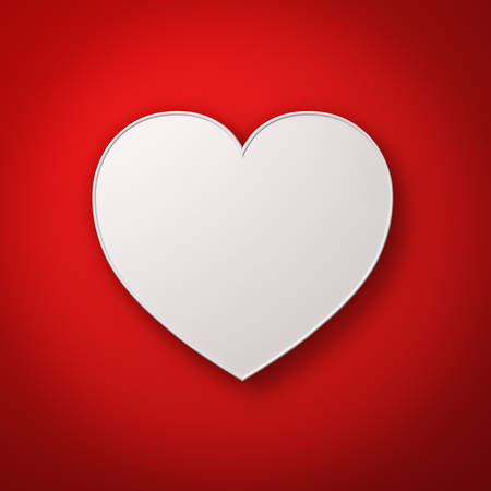red shape: White heart shape on red wall background with shadow, valentines day background 3D rendering