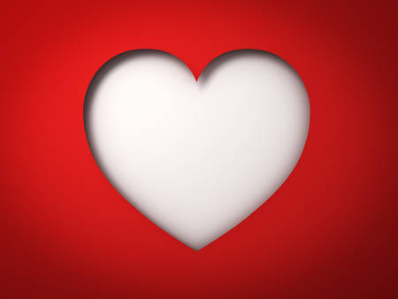 Red paper heart hole Valentines day card on blank white background with shadow 3D rendering