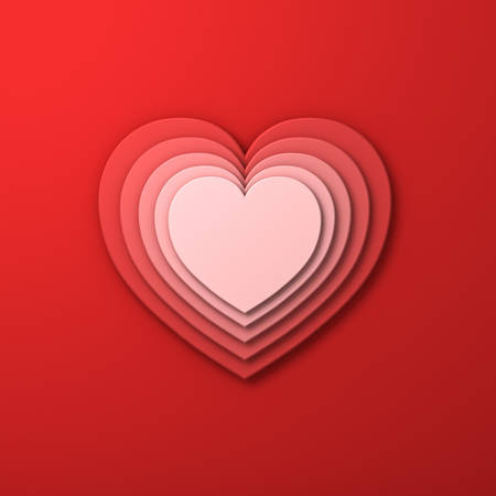 Red layer hearts valentines day card background with shadow 3D rendering
