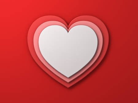 tier: White heart on red layer hearts valentines day card background with shadow 3D rendering