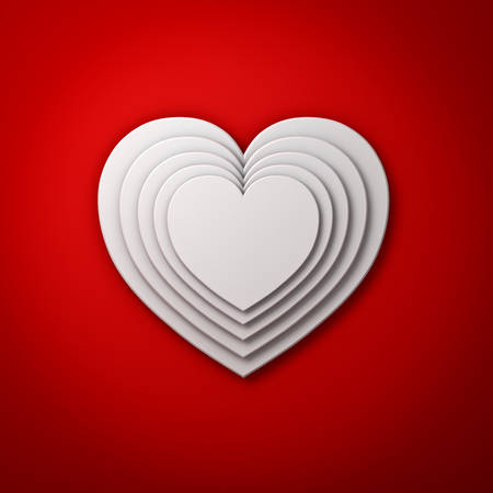 tiers: White heart shapes on red wall background with shadow, valentines day background 3D rendering