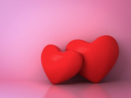 Two red hearts on pink background with reflection and shadow for valentines day background 3D rendering