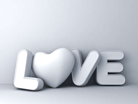 romantic couple: 3d love word concept with heart on white background with shadow, valentines day background. 3D rendering.
