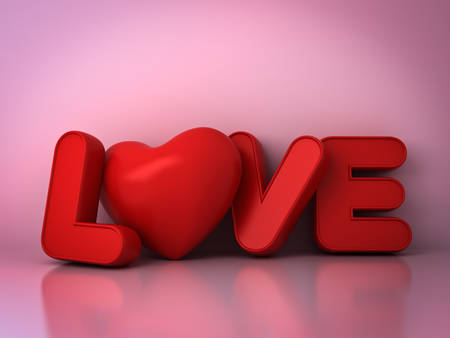 3d red love word concept with heart on pink background with shadow and reflection, valentines day background. 3D rendering. Stock Photo