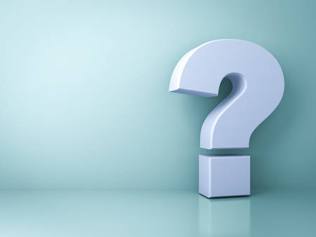 answer: Question mark on green background with shadow and reflection . 3D rendering.