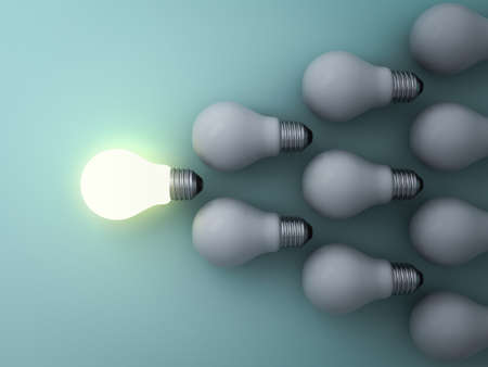 opportunity sign: One glowing light bulb standing out from the unlit incandescent bulbs on green background , leadership and different concept . 3D rendering. Stock Photo