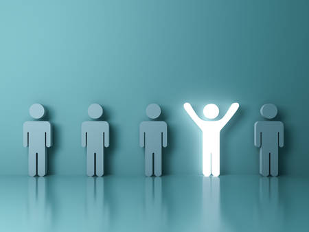 one people: Stand out from the crowd and different creative idea concepts , One glowing light man standing with arms wide open among other people on green background with reflections and shadows . 3D rendering.