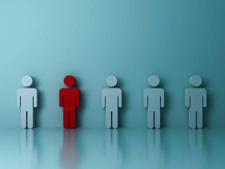 Stand out from the crowd and different creative idea concepts , One red man standing among other people on green background with reflections and shadows . 3D rendering. Stock Photo