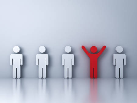 business team: Stand out from the crowd and different creative idea concepts , One red man standing with arms wide open among other people on white background with reflections and shadows . 3D rendering.