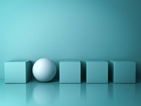 sphere standing: Stand out from the crowd and different creative idea concepts , One white sphere standing among green square boxes on green background in the row with reflections and shadows . 3D rendering. Stock Photo