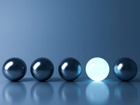1 つ青い白熱光ボール反射と影、個性さまざまな創造的なアイデアの概念と暗い青色の背景に金属球のボールから立っています。3 D レンダリング。