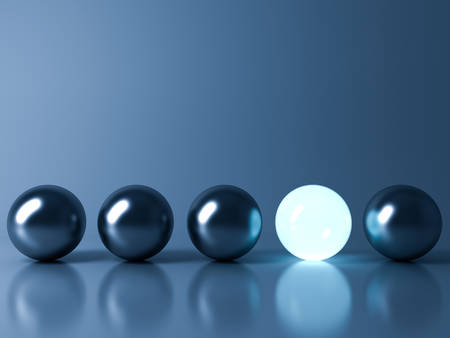 One blue glowing light ball standing out from the metal sphere balls on dark blue background with reflection and shadow , individuality and different creative idea concepts . 3D rendering. Фото со стока - 74472170
