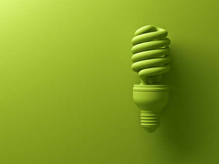 Green eco energy saving compact fluorescent light bulb isolated on green background with shadow , the same color abstract creative idea concept . 3D rendering.