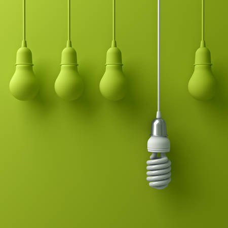 One hanging eco energy saving light bulb different and stand out from old incandescent lightbulbs on green background with shadow , individuality and different creative idea concept . 3D rendering. Stock Photo