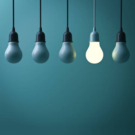 think out of box: One hanging light bulb glowing different standing out from unlit incandescent bulbs with reflection on dark green background , leadership and different business creative idea concept. 3D rendering.