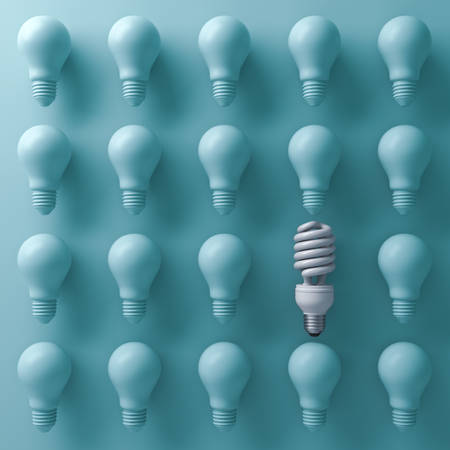 think out of box: One eco energy saving light bulb different and stand out from old incandescent lightbulbs on cyan background with shade and shadow , individuality and different creative idea concept . 3D rendering. Stock Photo