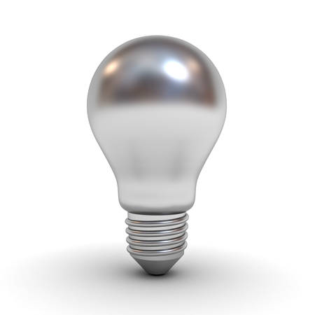Metallic chrome light bulb isolated over white background with shadow and reflection . 3D rendering.