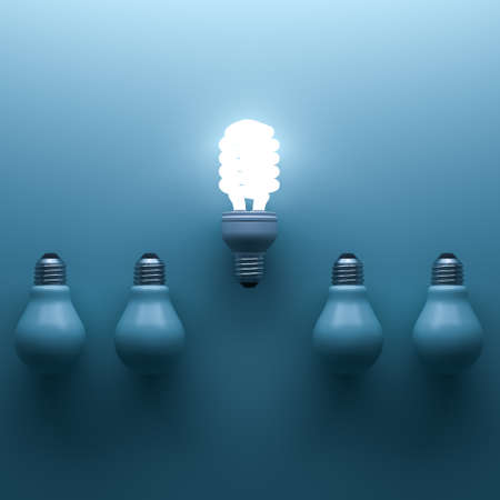 Energy saving light bulb , one glowing compact fluorescent lightbulb standing out from unlit incandescent bulbs on cyan background , individuality and different creative idea concepts . 3D rendering.