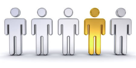 chrome man: One gold man standing out from the crowd , individuality and different creative idea concept isolated over white background with shadow. 3D rendering.