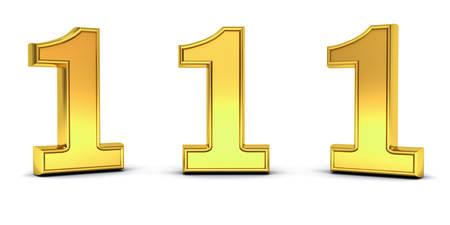 numero uno: Número de oro 3D uno, 1, con tres ángulos de visión diferentes aislados en fondo blanco con sombra. Representación 3D. Foto de archivo