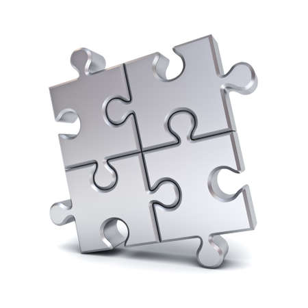 aluminum: Metallic chrome jigsaw puzzle pieces isolated on white background with shadow. 3D rendering.