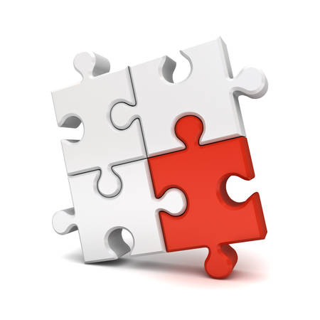 Red jigsaw puzzle piece stand out from the crowd different concept isolated on white background with shadow. 3D rendering.