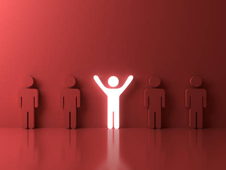 business team: Stand out from the crowd and different creative idea concepts , One glowing light man standing with arms wide open among other people on red background with reflections and shadows . 3D rendering.
