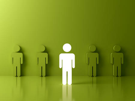 Stand out from the crowd and different creative idea concepts , One glowing light man standing among green people on green background with reflections and shadows , leadership concept . 3D rendering.