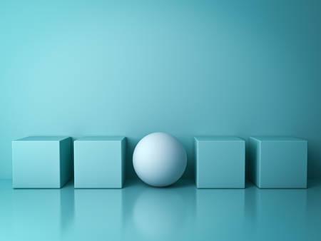 群衆と異なる独創的なアイデアの概念、反射や影を持つ行の緑の背景に緑の正方形のボックスの間に立って 1 つの白い球から目立ちます。3 D レンダリング。 写真素材 - 77615252