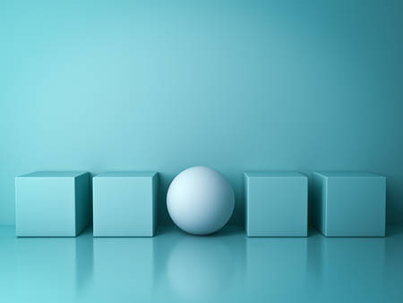 Stand out from the crowd and different creative idea concepts , One white sphere standing among green square boxes on green background in the row with reflections and shadows . 3D rendering. 版權商用圖片