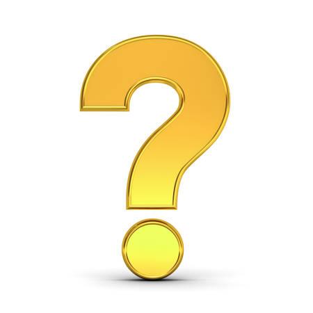 Gouden vraagteken geïsoleerd over witte achtergrond met schaduw. 3D-weergave. Stockfoto