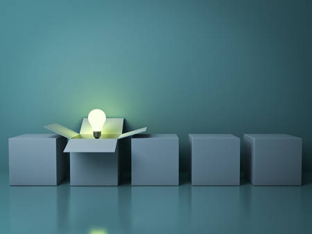 dark: Stand out from the crowd different creative idea concepts , One white opened box with idea light bulb glowing among close square boxes on green background in the row with reflections . 3D rendering.