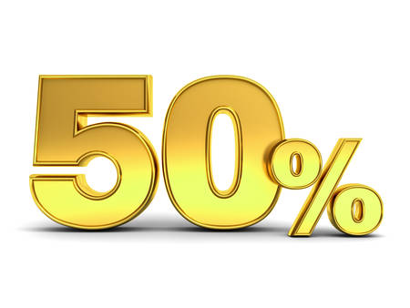 3D gold fifty percent or special offer 50% discount tag isolated over white background with shadow. 3D rendering.