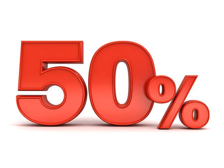 Red fifty percent or special offer 50% discount tag isolated over white background with shadow. 3D rendering. Stock Photo