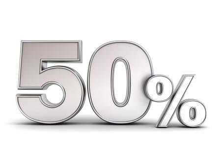 3 D 金属 50% または 50% の特別オファーは、影で白い背景に分離されたタグを割引します。3 D レンダリング。