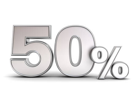 3D metal fifty percent or special offer 50% discount tag isolated over white background with shadow . 3D rendering. Stock Photo - 79175326