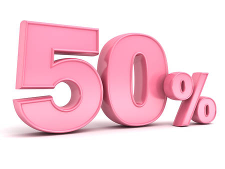 percent sign: 3D pink fifty percent or special offer 50% discount tag for lady , female , women , mother day isolated over white background with shadow and reflection . 3D rendering.