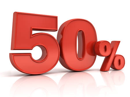 3D red fifty percent or special offer 50% discount tag isolated over white background with shadow and reflection . 3D rendering.